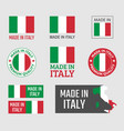 made in italy labels set italian product emblem vector image vector image