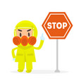 man in yellow protective costume and gas mask vector image