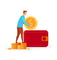 man putting money in wallet vector image vector image