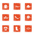 manner icons set grunge style vector image