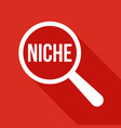 niche word magnifying glass vector image