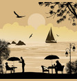 people silhouette on beach and ship at sea vector image vector image