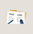 pros cons concept on decision making process vector image vector image