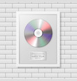 realistic cd and label in glossy white vector image