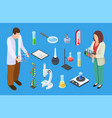 scientists and experimental equipment isometric vector image