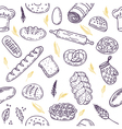Seamless pattern with bread and wheat Hand drawn vector image vector image