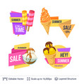 set of summer badges isolated on white vector image vector image
