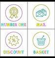shopping icon set for online store in linear style vector image vector image