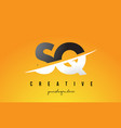 sq s q letter modern logo design with yellow vector image vector image