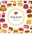 tasty sweets banner template with desserts pattern vector image vector image
