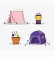tent lantern basket food picnic in park vector image vector image
