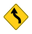 usa traffic road signjust ahead a road curve vector image vector image