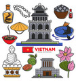 vietnam travel tourism famous symbols and asian vector image