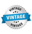 vintage 3d silver badge with blue ribbon vector image vector image