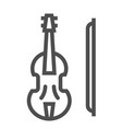 violin line icon musical and instrument viola vector image