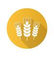 wheat ears flat design long shadow glyph icon vector image
