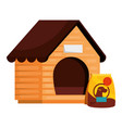 wooden dog house with bag food animal isolated vector image vector image