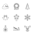 Xmas icons set outline style vector image vector image