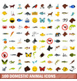 100 domestic animal icons set flat style vector image