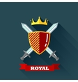with crossing swords shield and crown in flat vector image