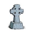 ancient cross tombstone color sketch engraving vector image