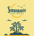 banner with sea mountains and palm trees vector image vector image
