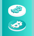 blockchain set coins icon vector image vector image