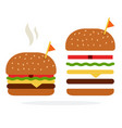 burger with chicken and cheese in a rye bun and vector image vector image