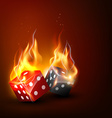 burning dice vector image vector image