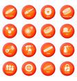 car repair parts icons set red vector image vector image