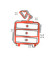 cartoon cupboard with lamp furniture icon in vector image vector image