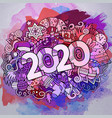 cartoon cute doodles hand drawn 2020 year vector image vector image