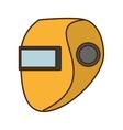 cartoon yellow welder mask eyes security sign vector image