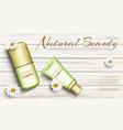 chamomile eco cosmetics bottles mock up banner vector image vector image