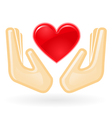 Charity and care concept - hands with heart vector image vector image