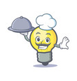 chef light bulb character cartoon with food vector image vector image