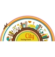 City background with icons and elements vector image vector image