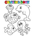 coloring book with sea animals 1 vector image vector image