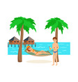 couple is resting on island while on vacation vector image