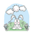 cute rabbit with happy sun and clouds vector image vector image