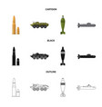 design of weapon and gun sign set of vector image