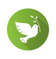 dove with olive branch flat design long shadow vector image