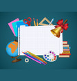 empty notebook page and student items banner vector image vector image
