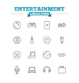 Entertainment linear icons set Thin outline signs vector image