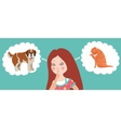Girl thinking whom to choose Cat or dog vector image vector image