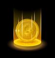 golden bitcoin in shining light effect vector image vector image