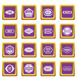 golden labels icons set purple vector image vector image