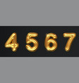 golden numbers set isolated on dark realistic vector image vector image