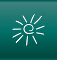 hand drawn sun icon on green background vector image vector image
