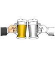 hand holding beer mug vector image